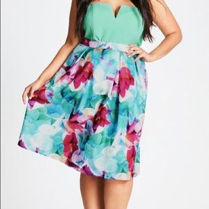 City Chic skirt Lily Floral NWT
